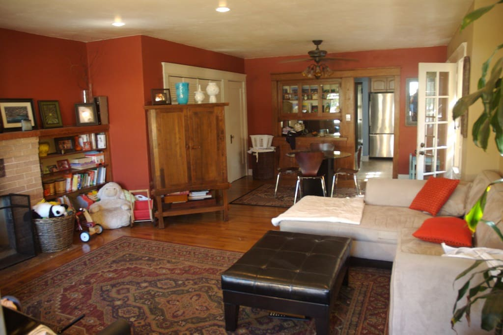 Spacious living room with tons of old world charm and modern conveniences