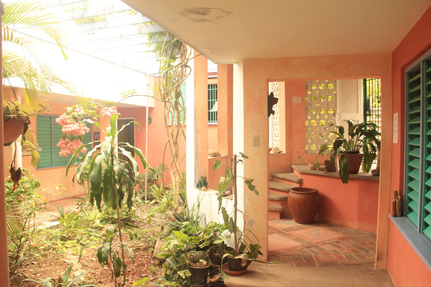 The Central garden courtyard, brings an inside outside relaxing ambiance to the whole place