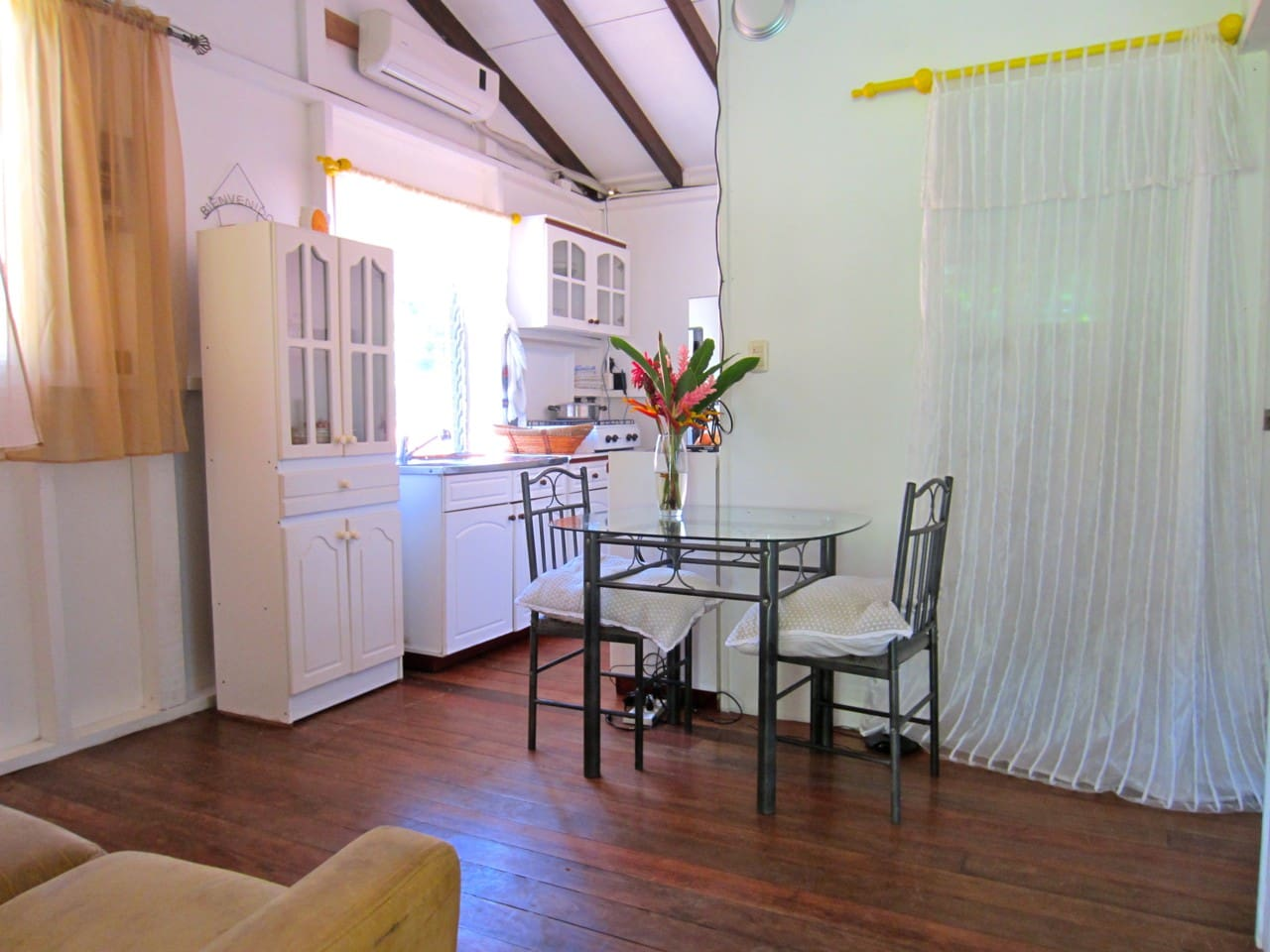 Living area with kitchen and dining area