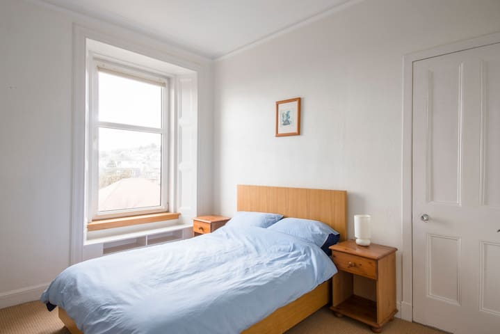 """This is the front bedroom, with a very comfortable bed (""""One of the World's Most Comfortable Mattresses"""")"""