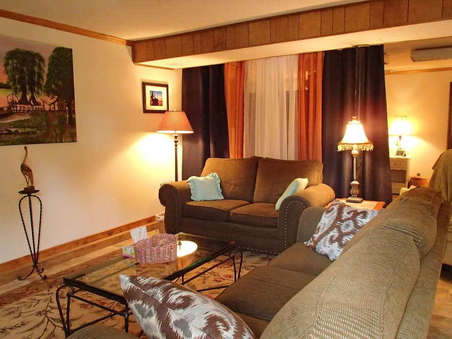 One of two lounge areas, the flat has 780 sq. ft. and lives large!  Set up for comfort and ease of living!