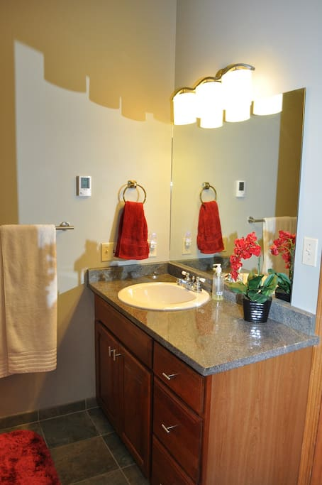 Private attached guest bath with heated flooring. Towels, shampoo, conditioner, body wash, makeup remover and hair dryer are provided.