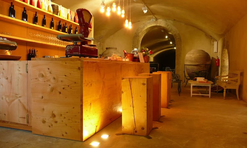 Wine bar in the ancient cellars, a unique atmosphere. Wine tasting upon request.