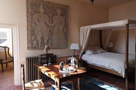 le nid de Dany est une chambre privative avec salle de bain wc séparé  la décoration reflète le charme du xvII le dépaysement total est au rendez-vous