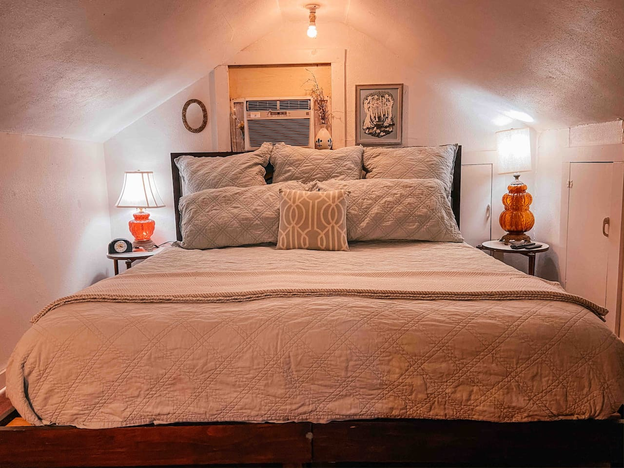 Your super comfortable King size bed in our upstairs half story.