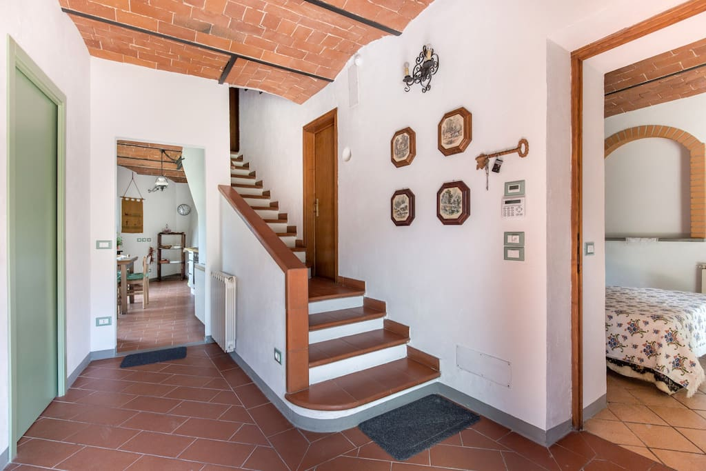 Main entrance: bathroom to the left, double room # 1 to the right, kitchen in front/background of the picture, double room # 2 to the top of the staircase (15 steps)