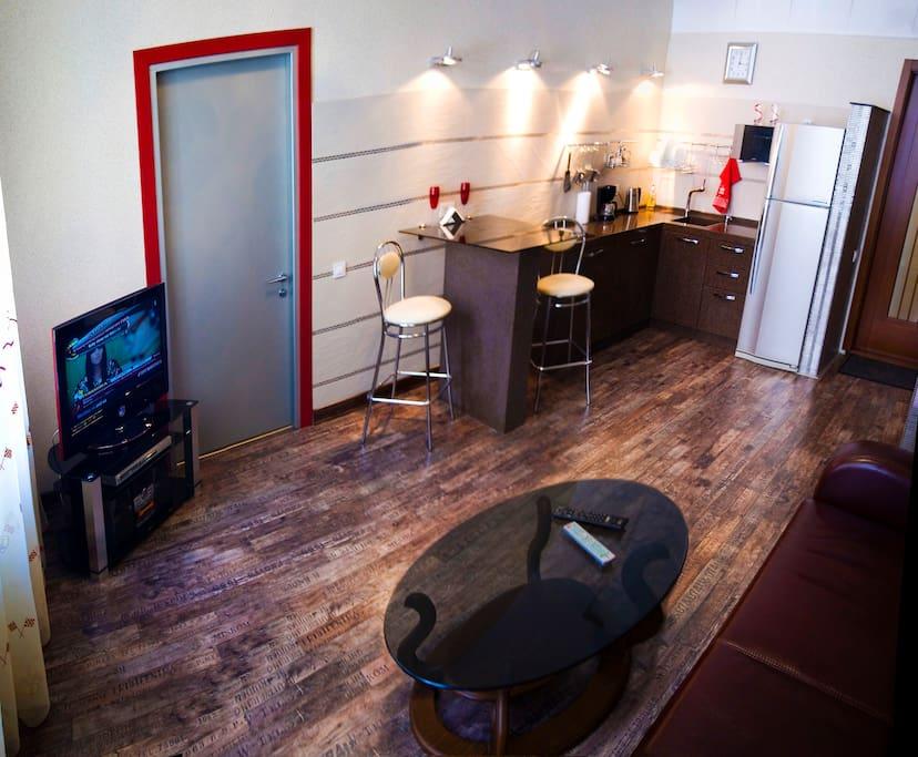 Гостиная-студия, вид на зону кухни.