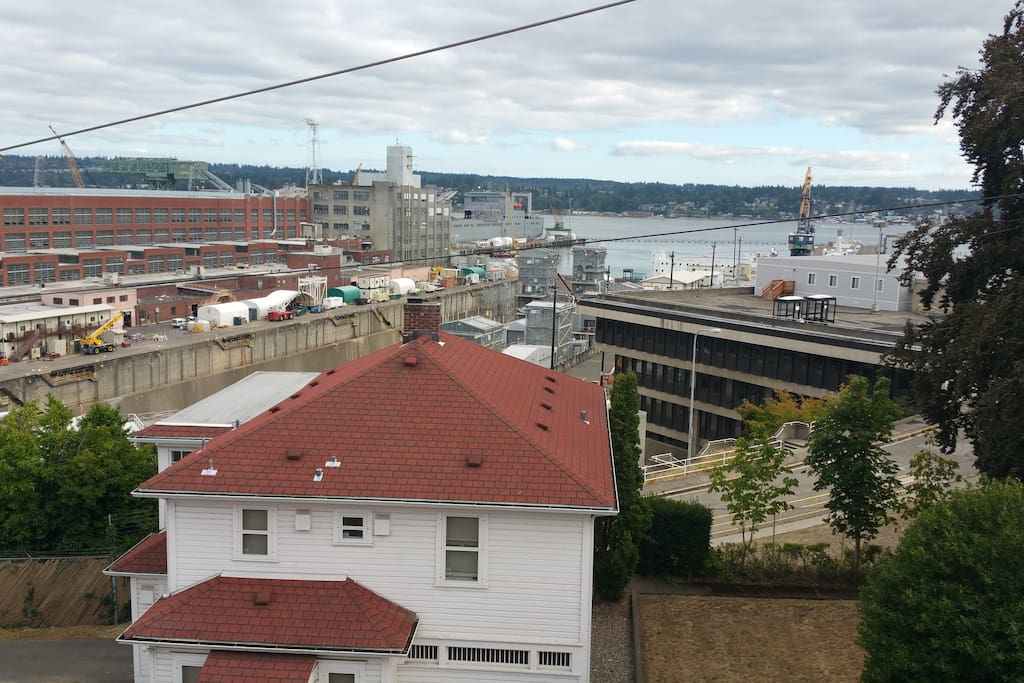 View from the apartment of Sinclair inlet and the shipyard