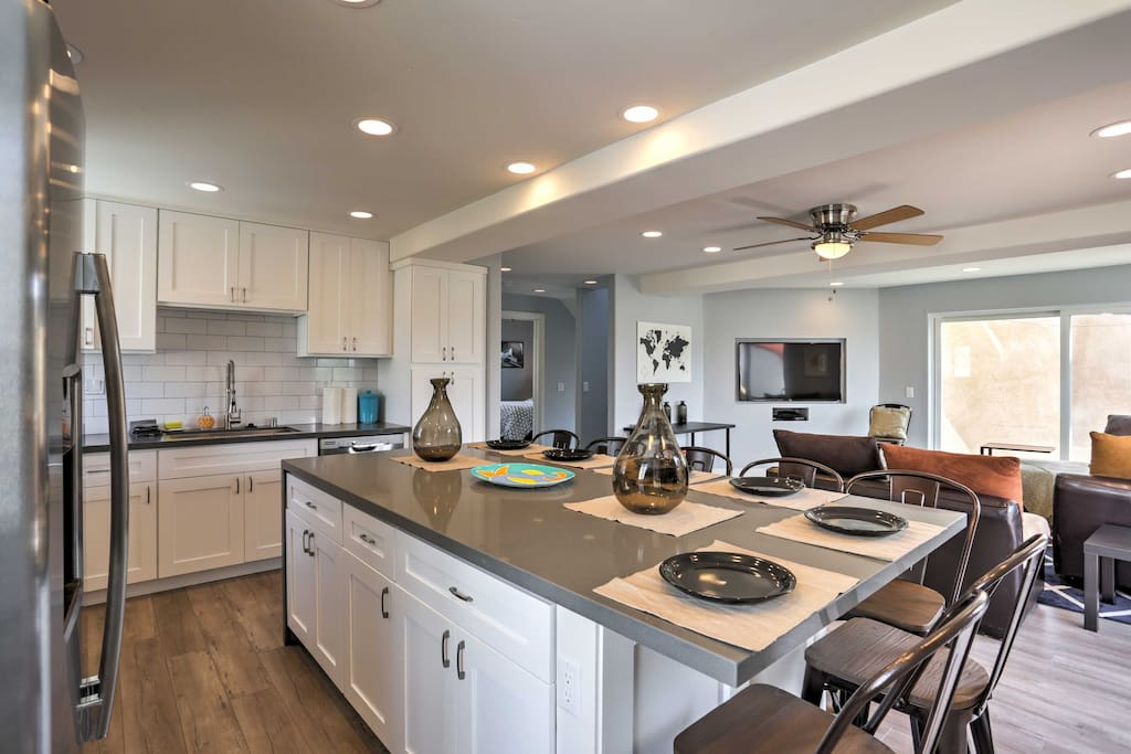 Cooking will be a breeze with the stainless steel appliances in the fully equipped kitchen.