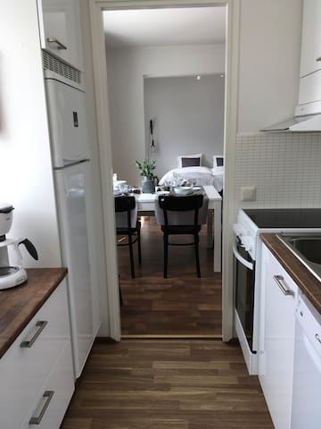 In the kitchen i have dish washing machine, fridge and freezer, microwave oven, toaster and coffee maker.