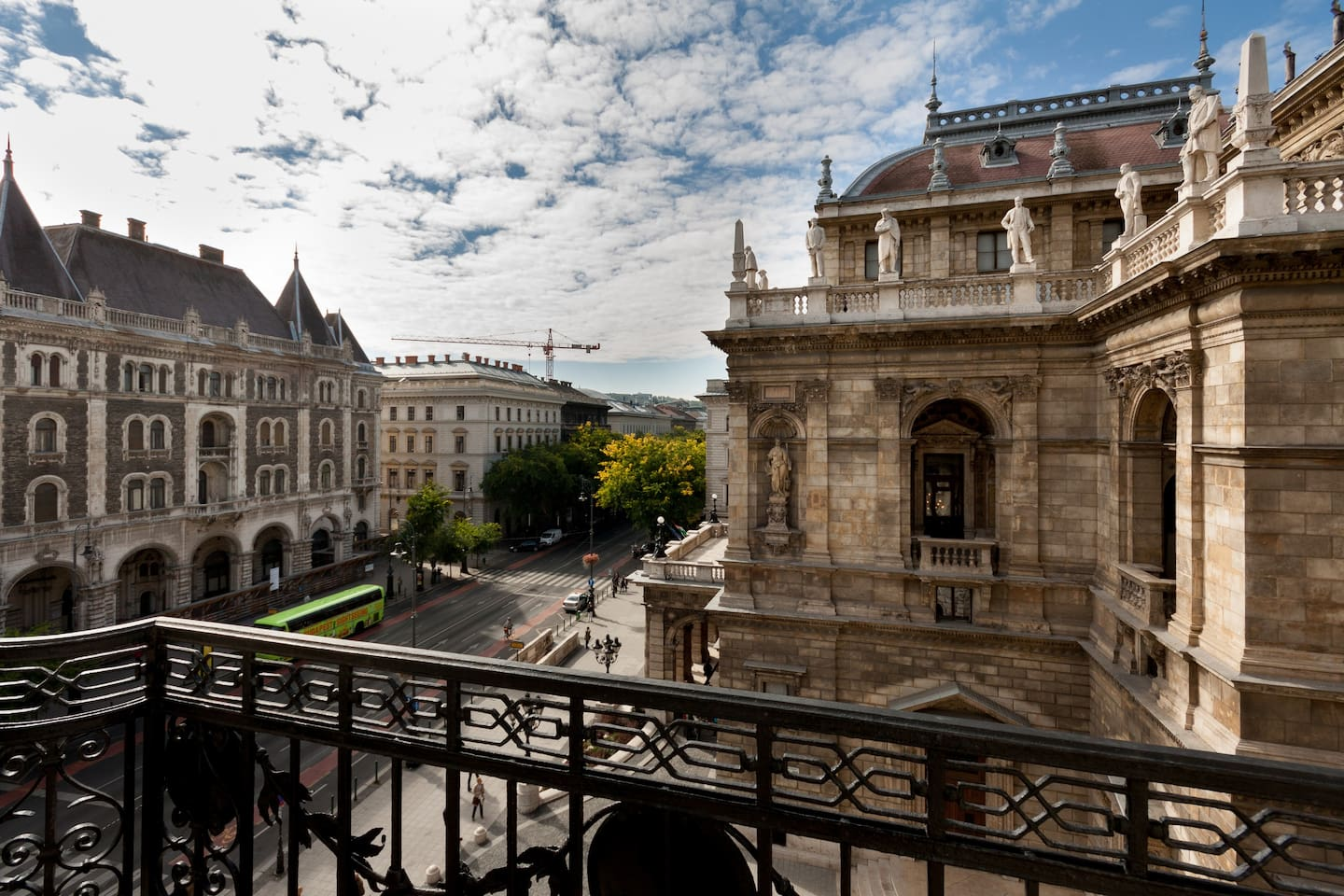 The Opera and the Ballet institute from the balconies (at the moment the facade of the Opera is covered for cleaning).