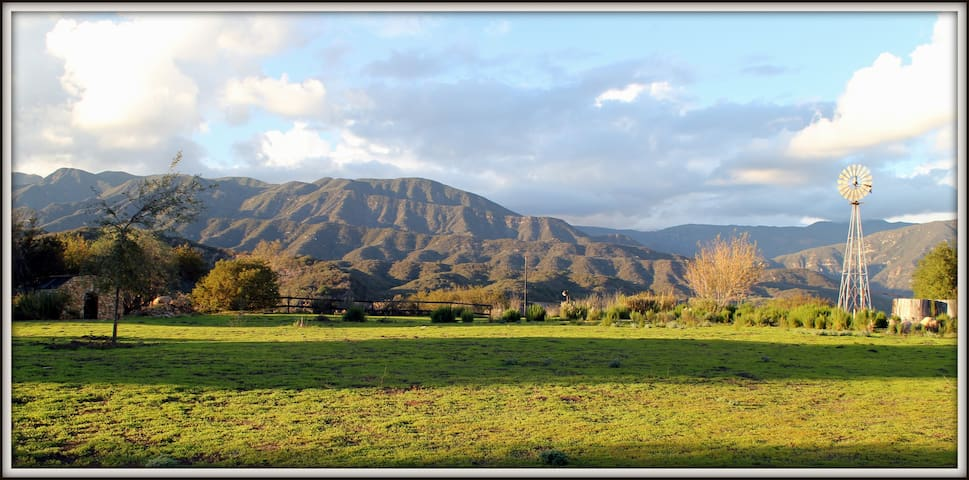 View of the Ventura River valley in the spring from the farm.