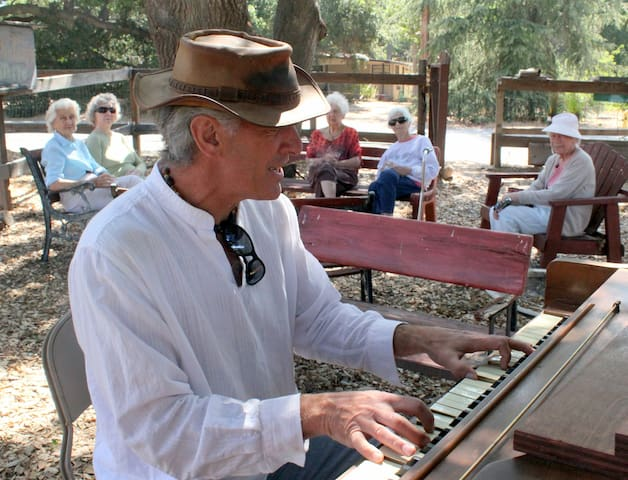 We have a real piano under the oak tree by our roadside stand!