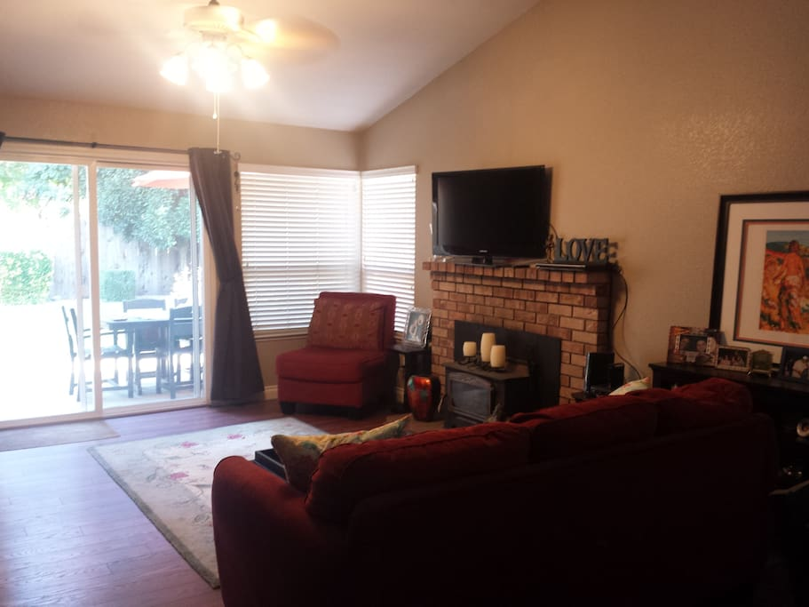 Living Room goes out to backyard.
