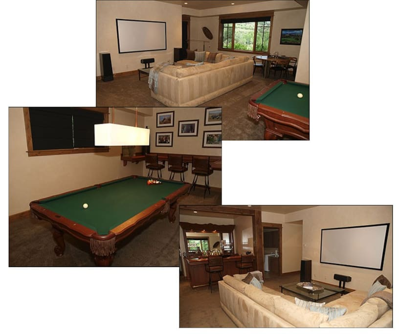 "Pool Table/Full Bar /90"" projection TV screen for watching all the games."