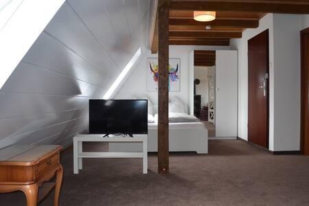 Quaint loft with a cozy fireplace