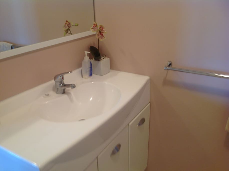 Modern bathroom with shower, toilet and basin