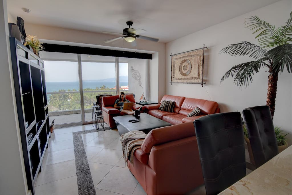 Living Room with Ocean View, Cable TV, Internet & Apple TV for Netflix