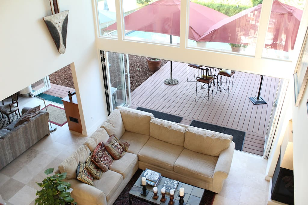 Living room with view of back deck