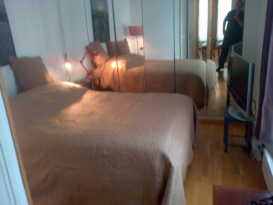 la chambre  coucher, un canapé-lit doté d'un vrai matelas ultra-confort