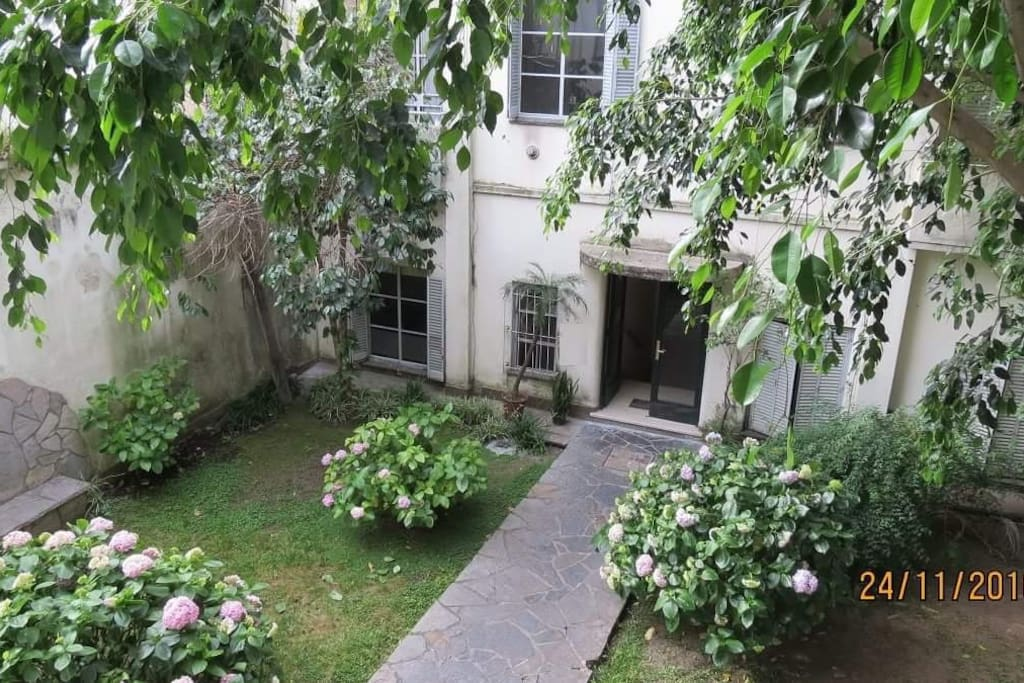 View from the balcony. Private garden inside the building for use.