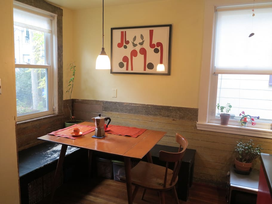 The small dining nook is the heart of the home.