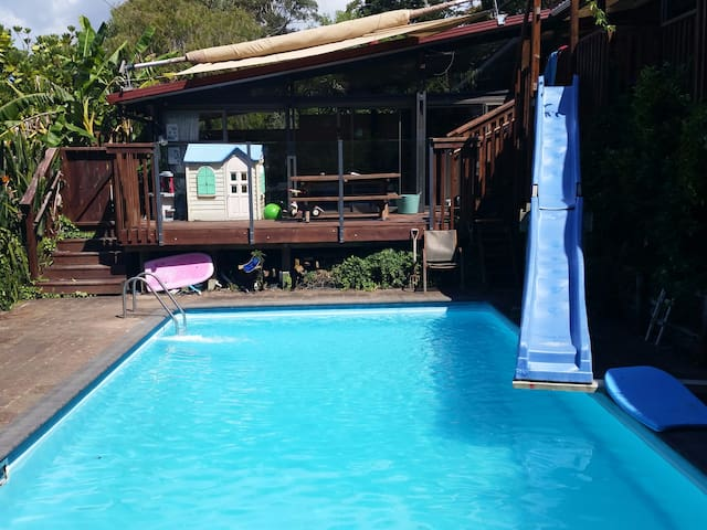 This is our pool and 6m slide.  You are looking up at the deck and lounge area from here.