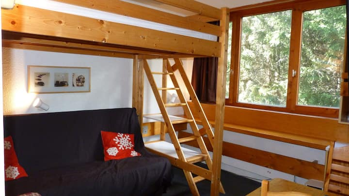 Studio for 2 guests, close to the slopes and shops, at the heart of Arc 1800 resort in the Villards village