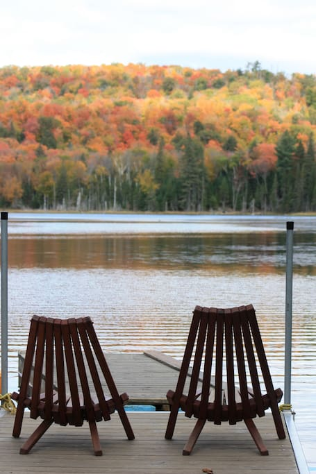 View of our private lake in the autumn.