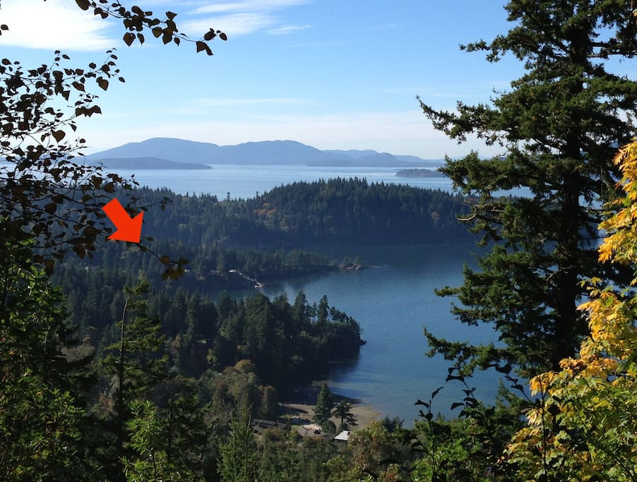 We're located on Chuckanut Point, where the arrow points!