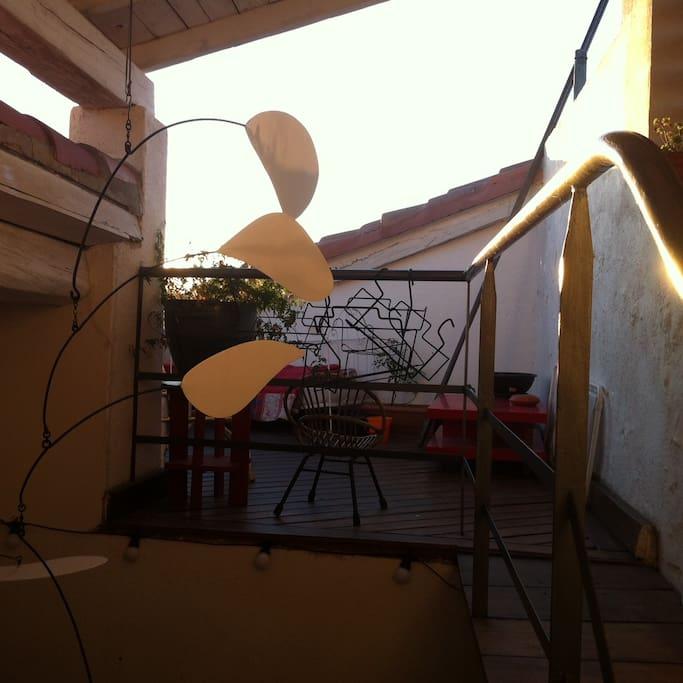 lever de soleil sur la terrasse