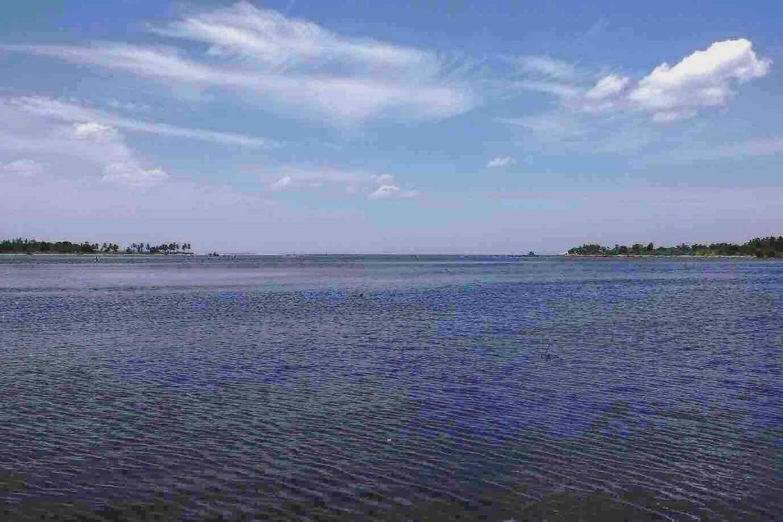 Beautiful calm water where lagoon meets the sea