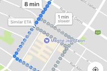8 minute walk to Jean Talon subway station. Connecting Sal's Place to all of Montreal!