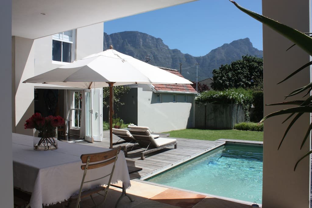 View of Table Mountain, Devils Peak and Outside Dining Area