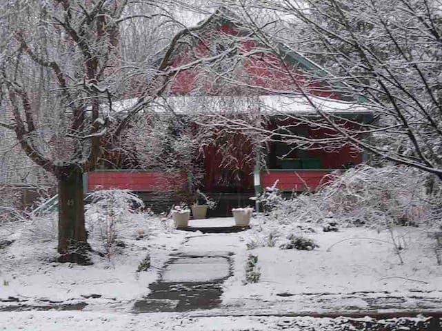 Front porch of Bear Cottage, winter.