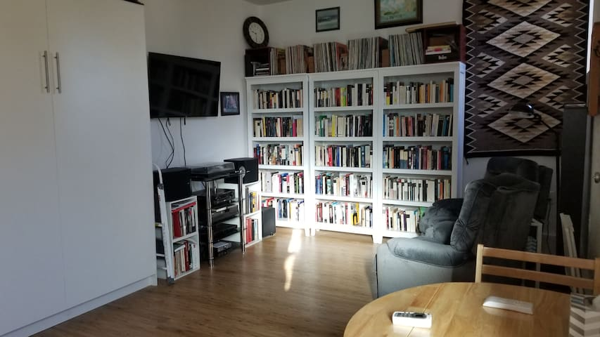 TV, Music a Bailar [to dance to], Spanish  Library and Comfy Reclining Chairs in Main Room