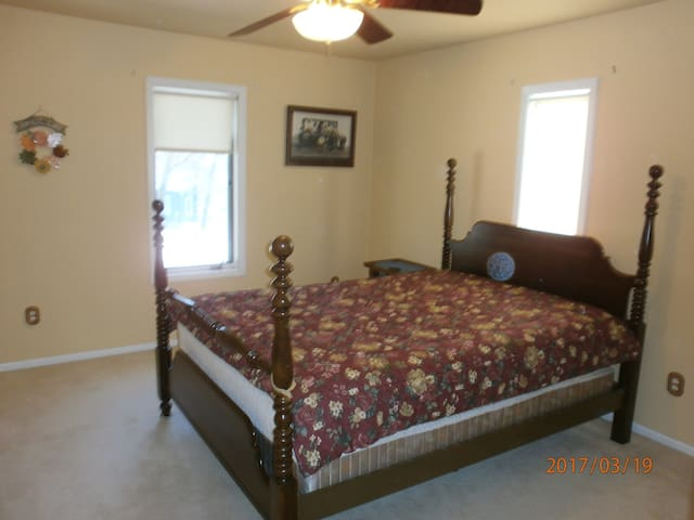 Sizable bedroom with walk-in closet.