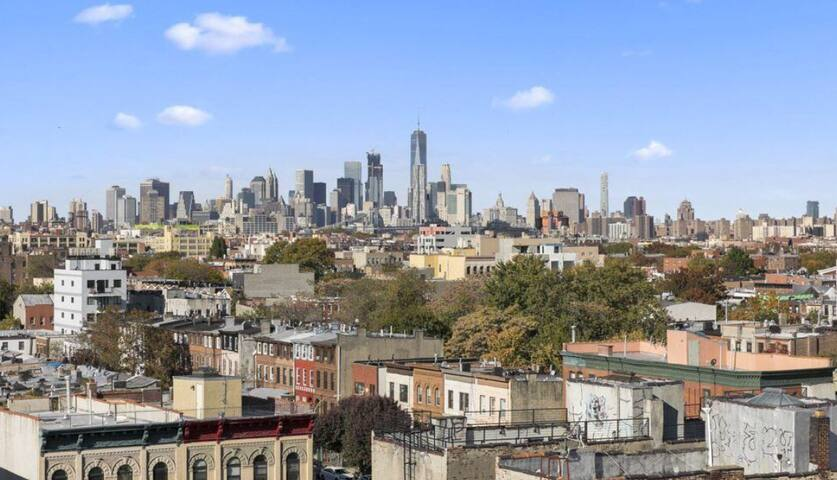 Amazing NYC skyline views from rooftop patio from your room!!!