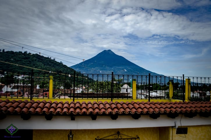 You will have a beautiful view of the water volcano and the Anatigua Guatemala