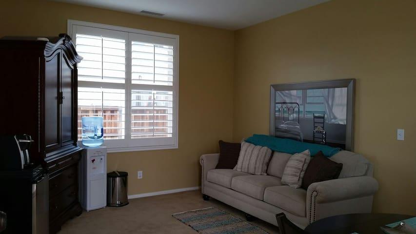 New queen sofa sleeper in separate living area.
