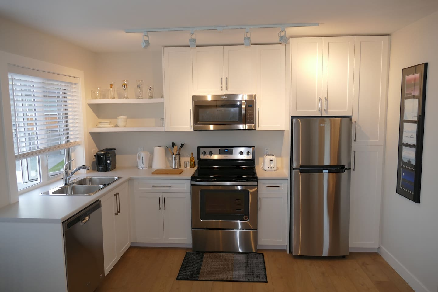 This brand new kitchen has everything you need for your stay.