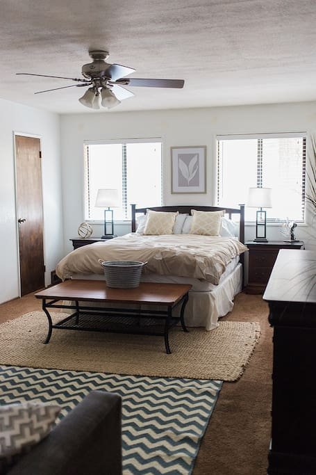 Master Bedroom: *we have upgraded to a King bed since this photo was taken*