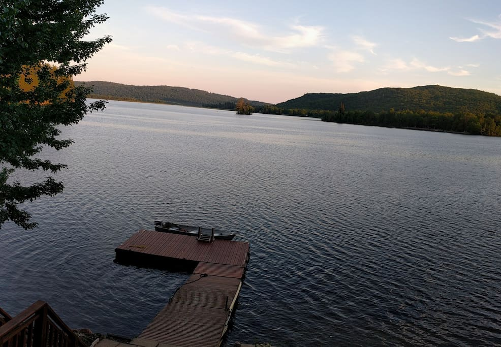 The view from the cottage is relaxing and peaceful.  The lake is quiet, but extensive.  Even after 40 years, I haven't yet boated the full length of the system.  Negeek Lake water level are controlled so the lake level doesn't vary much.