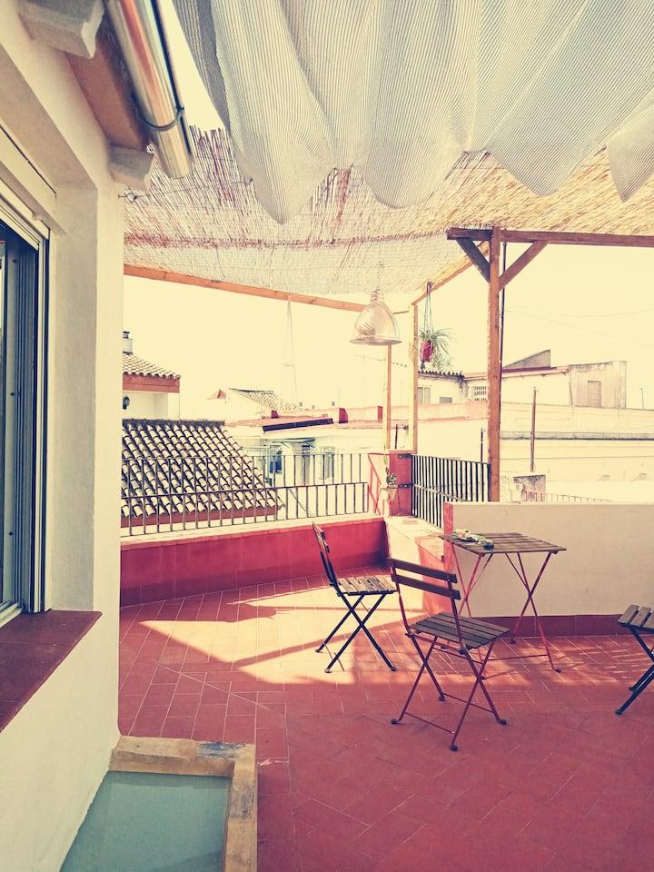 Estudio tipo atico con terraza centro jerez