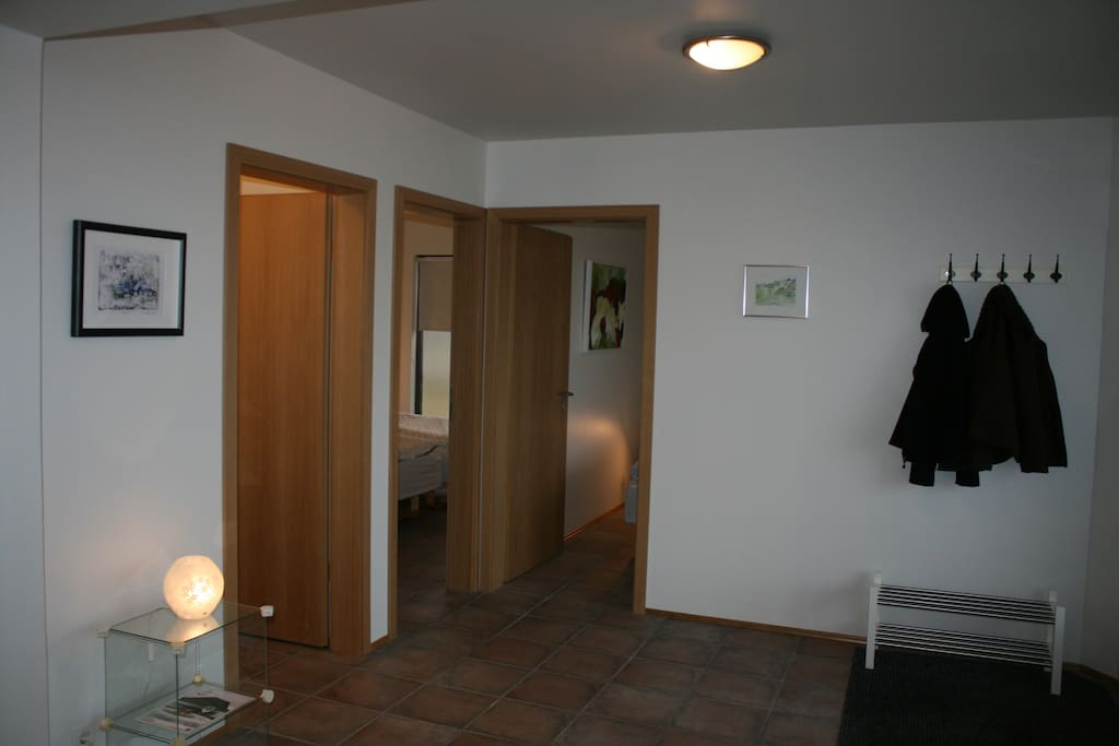 The entrance, the bedrooms and the bathroom