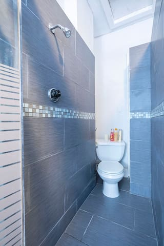 Bathroom is complete with: a high efficiency toilet, and a pedestal sink.