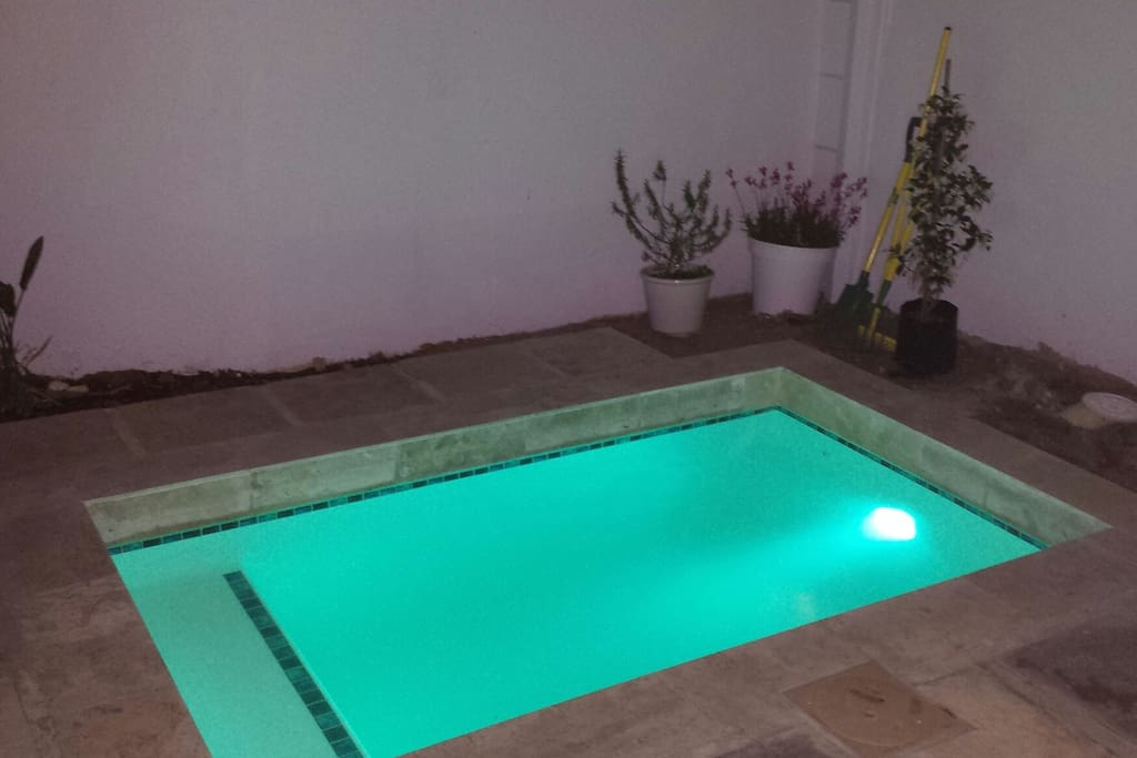 Lovely pool with blue night light and barbecue area and sheltered patio