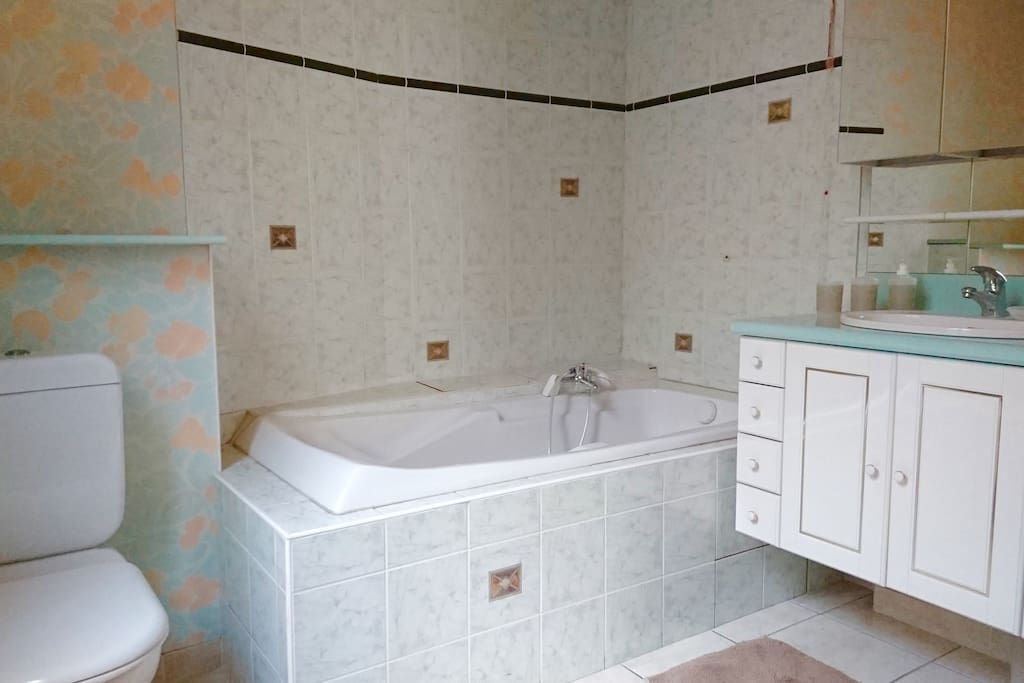 Cette grande salle de bain, équipé d'une baignoire, d'un WC est dépendante de la chambre triplette. Avec une surface de 6,5 m2 et d'une hauteur de plafond de 3 m.