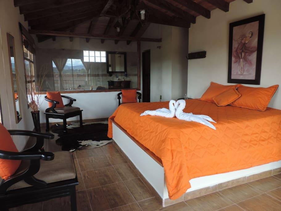 Habitación con Jacuzzi, ventanas para  disfrutar de la vista