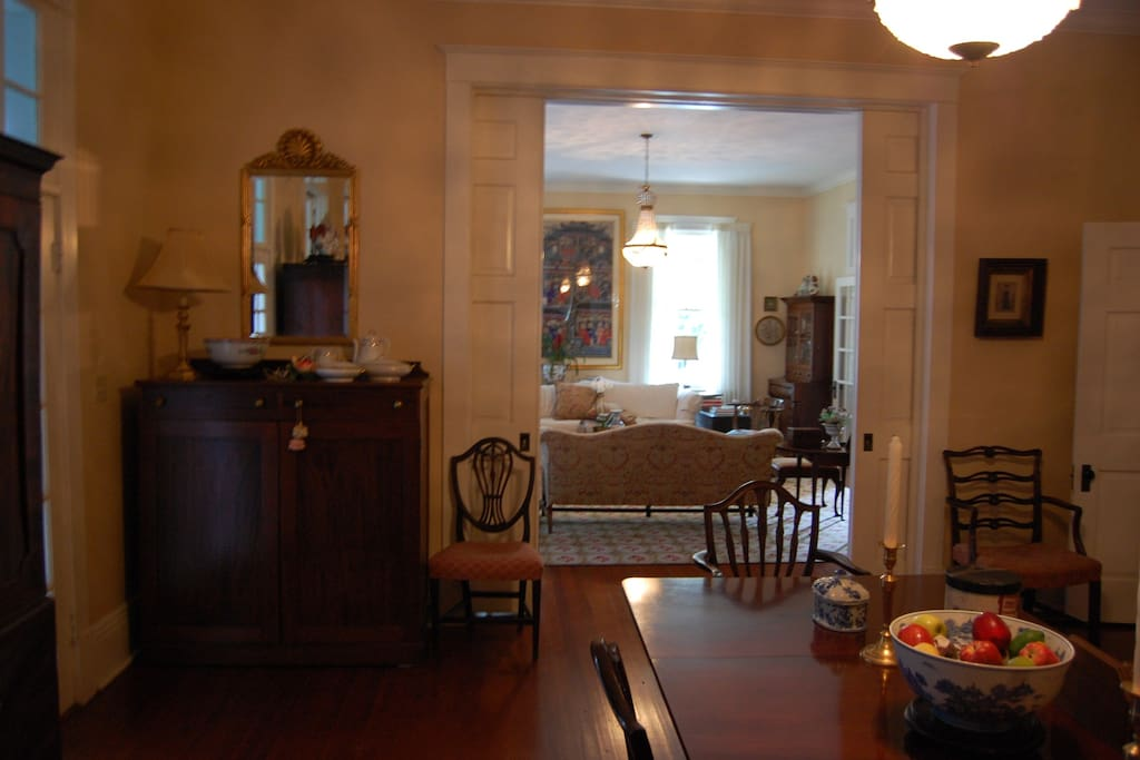 A view of the dining room and living room.